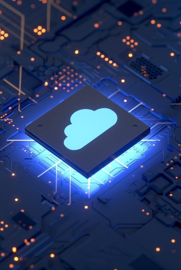 chip with a glowing cloud icon illustrates the cloud services offering from cmit solutions